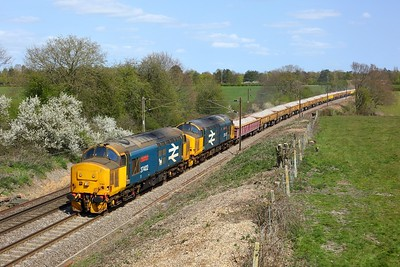37402 leading 37407 working 6Z37 1136 Parkeston to Westbury Down at Fox Street on 21st April 2021  Class37, DRS, GEML