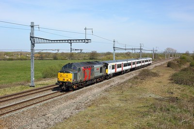 37884 hauls 317649 working 5Q76 Ely Papworth sidings to Newport Docks at South Marston on 26 April 2021  Class37, ROG, GWML