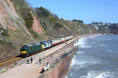 37667 leading 37688 on 1Z32 0957 Bristol East Depot to Penzance at Sprey Point, Teignmouth on 4 April 2021  Class37, SouthDevonMainline, LSL