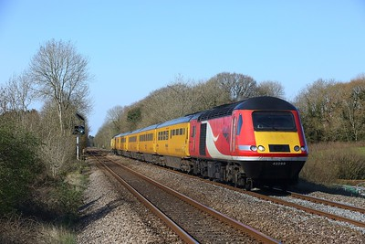 43299 leads 43062 on 1Z20 London Paddington to Derby RTC at Coychurch on 2 April 2021  NMT, SouthWalesMainline, NR