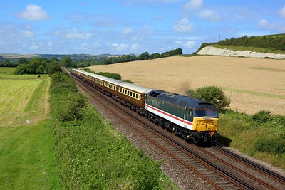 47828 leading 47805 on 1Z83 0603 Chesterfield to Eastbourne at Southerham junction on 14 August 2021  Class47, InterCity, LSL, Statesman, EastCoastway