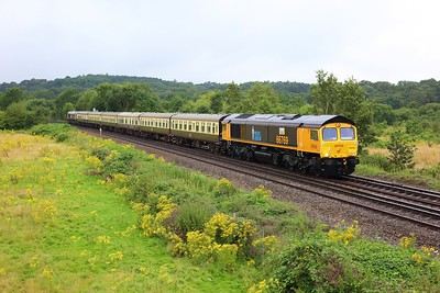 66769 leading 66725 on 5Z82 Eastleigh to London Victoria at Egham on 12 August 2021  GBRf66