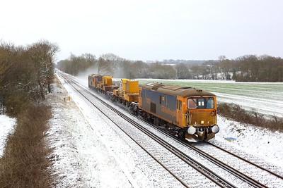 73212 leading 73213 on 3Y90 Tonbridge west yard circular at Crowhurst on 8 February 2021  Class73, SITT, RedhillTonbridgeLine