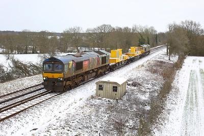 66718 leading 66715 working 3Y90 1213 Tonbridge West Yard Gbrf to Tonbridge West Yard Gbrf at Crowhurst on 9 February 2021  GBRf66, SITT, RedhillTonbridgeline