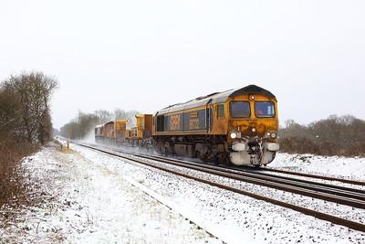 66722 tnt 66735 working 3Y09 1234 Tonbridge west yard circular via Bognor Regis at Crowhurst on 8 February 2021  GB66, SITT, RedhillTonbridgeLine