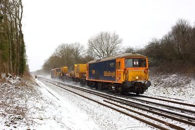 73109 leading 73119 on 3Y07 Tonbridge west yard circular via Seaford at Crowhurst, Edenbridge on 8 February 2021  Class73, GBRF, SITT, RedhillTonbridgeLine