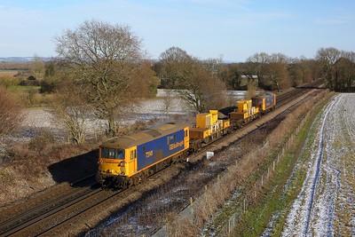 73141 leading 73136 working 3Y74 Tonbridge West yard circular via Ashford, Tunbridge Wells at Tudeley on 12 February 2021  Class73, GBRf, SITT, SouthEasternMainLine