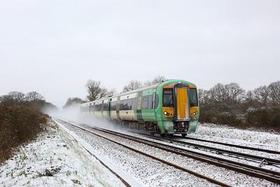 377313 working 2A28 1200 Redhill to Tonbridge at Crowhurst near Edenbridge on 8 February 2021  Class377, Southern, RedhillTonbridgeLine