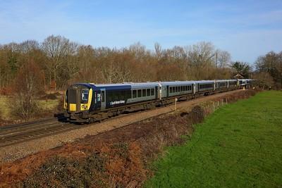 444040 leading 444037 working 1B27 1018 London Waterloo to Poole and Fareham at Egham on 17 January 2021  Class444, SWR, WaterlooReadingline