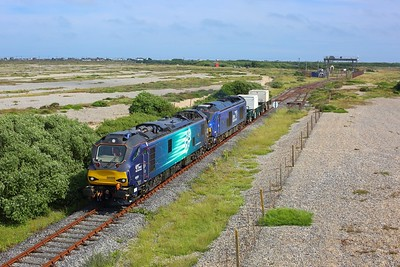 88009 leads 68007 on 6M95 Dungeness to Crewe flasks departing Dungeness on 7 July 2021  Class88, DRS, DungenessBranch