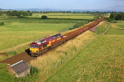 66169 working 6K37 0800 Dumfries to Carlisle north yard at Warrenhill, Greenlea on 24 July 2021  Class66, DB66, DBCargo, Engineers, GSW
