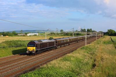 67006 leading 67005 work 1Z37 Windsor & Eton Riverside to Wolverton ECS after Queen Elizabeth's visit to Manchester Victoria at Ledburn on 8 July 2021  Class67, DBCargo, RoyalTrain, WCML