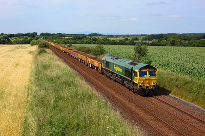 66566 powering 6K35 1626 Dumfries to Carlisle North yard approaching Gretna Green on 24 July 2021  Freightliner66, GSW, Class66, Engineers