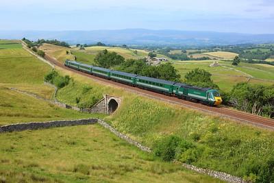 43058 leading 43059 working 1Z44 1509 Carlisle to Skipton at Birkett Common on 24 July 2021  StaycationHST, HST, SandC, LSLHST