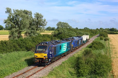 88009 leads 68007 on 6M95 Dungeness to Crewe flasks at Snargate on 7 July 2021  Class88, DRS, DungenessBranch