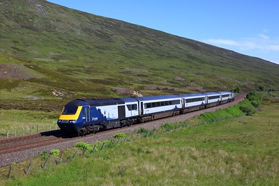 43168 leading 43036 working 1T98 0845 Inverness to Glasgow Queen Street at Balsporran on 29 June 2021  ScotrailHST, HML