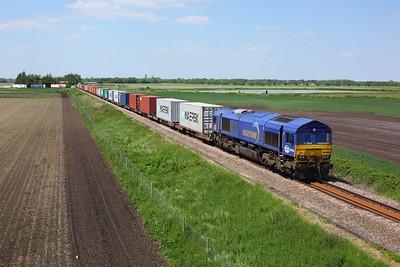 66005 powering 4L45 1004 Wakefield to Felixstowe at Barham near Soham on 1 June 2021  Class66, DB66, Maritime66, IpswichtoElyLine