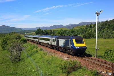 43129 leading 43139 on 1H07 0835 Edinburgh to Inverness arriving at Kingussie on 29 June 2021  ScotrailHST, HML
