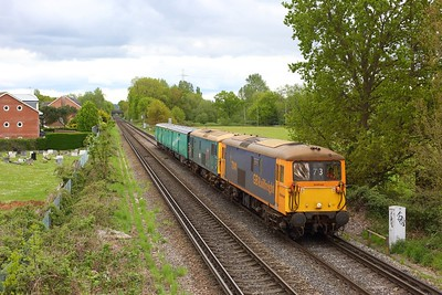73141 leading 73201 working 5Y73 1445 Eastleigh works to Tonbridge west yard at Chertsey on 13 May 2021  Class73, GBRf, ChertseyLoopLine