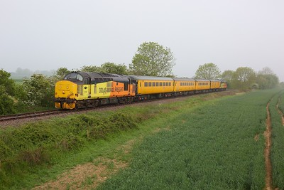 37421 leading 37219 on 1Q08 Ipswich to Derby RTC via Sizewell and Sheringham on the Sizewell branch east of Saxmundham on 31 May 2021  Class37, ColasRail, SizewellBranch, TestTrain