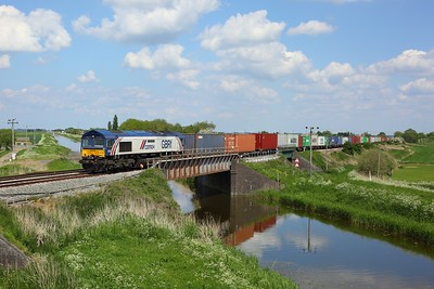 66780 working 4M21 Felixstowe to Birch Coppice at Beggars Bridge on 29 May 2021  GBRF66, ElytoPeterboroughLine, Class66, Cemex
