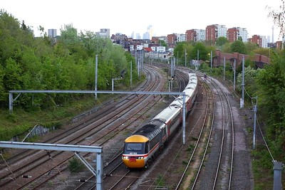 43102 leading 43274 on 1F70 2002 St Pancras to Leeds at Hampstead on 15 May 2021  EMRHST, MMLLondon, FinalEMRHST, FarewellEMRHST