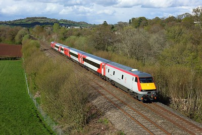 82229 leading 67015 working 5J42 1434 Chester to Cardiff Canton Sidings at Llanvihangel north of Abergavenny on 4 May 2021  DVT, Themarches, TFW