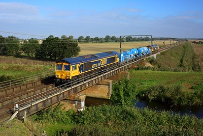 66716 leading 66725 working 6Z81 Whitemoor to Broxbourne at Fish and Duck Marina on 24 September 2021  GBRf66, GBRf, RHTT, FenLine