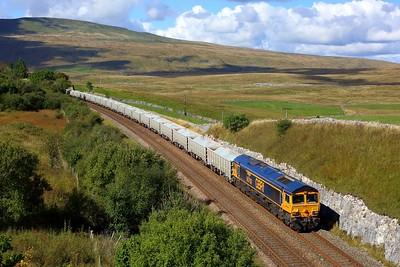 66702 working 6E69 Ribblehead to Hunslet at Salt Lake Cottages on 20 September 2021  Class66, GBRf66, SandC, SettleandCarlisle