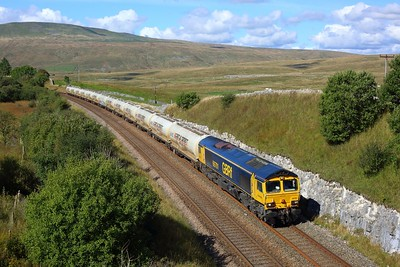 66701 working 4N03 Carlisle to Clitheroe at Salt Lake Cottages on 20 September 2021  GBRf66, GBRf, SandC, SettleandCarlisle