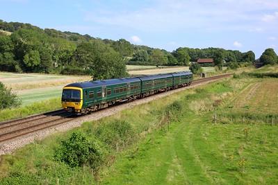 165109 working 1V48 1229 Gatwick Airport to Guildford at Hackhurst Farm, Abinger Hammer on 18 September 2021  Class165, GWR, NorthDownsLine