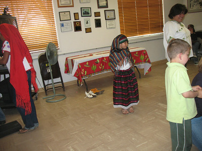 The kids getting ready for el baile foklorico. (folkloric dance). In the background is Sylvia, the baile teacher.