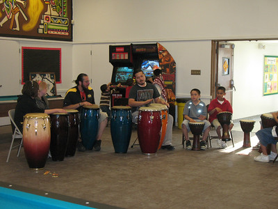 Here are the kids drumming with David and Carlos