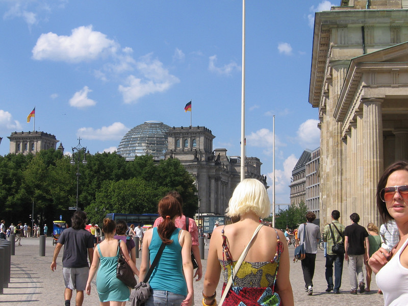 On our way to the Reichstag, an important governmental building in Germany.