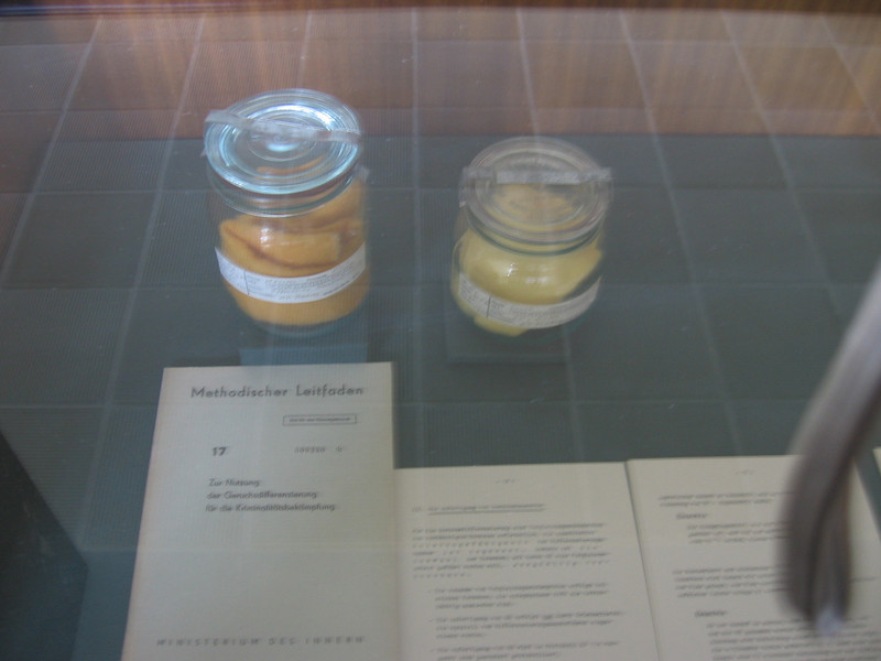 We're at the Stasi museum. The stasi collected smells.