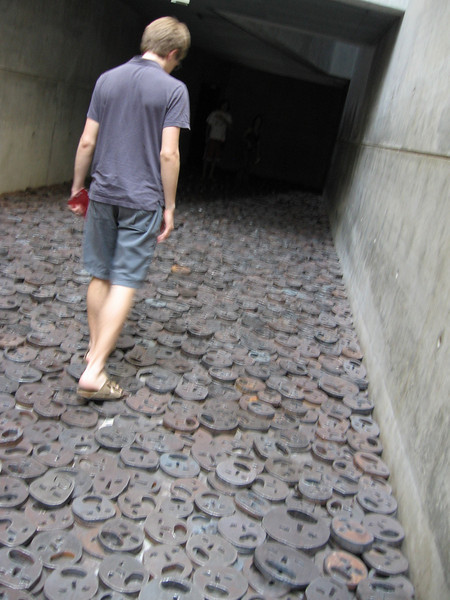 A really cool memorial that you walk on an the metal faces hit each other and fill the area with loud clanking noises.