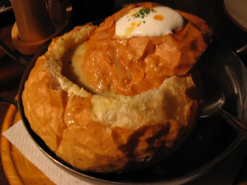 Chicken soup with tarragon in a delightful bread bowl!