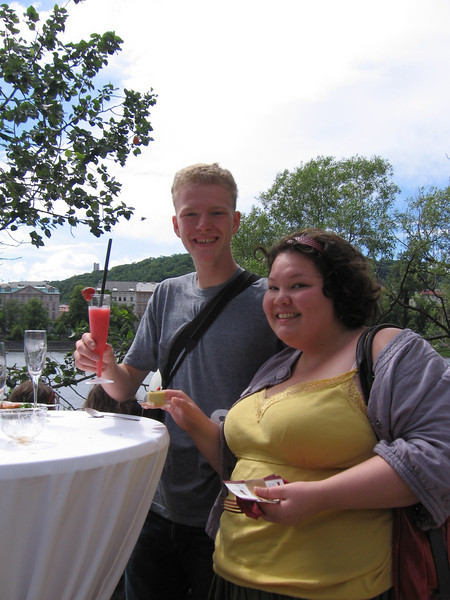 Peter and Me being nerds with our strawberry beverage.