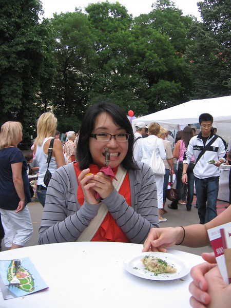 Adorable Tiffany with her special Prague Food Festival Fork! And thats Johnny in the background in the white and black jacket. Its the only picture I was able to get of him.