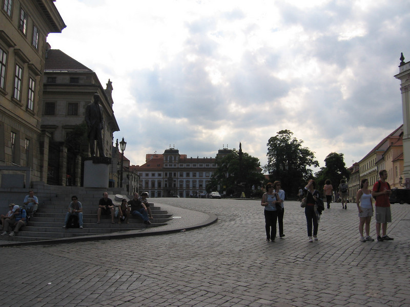 Towards the left is a statue of the first president of Czechoslovakia, but the statue wasn't made until after the cold war because the socialists obviously didn't want any tributes to him