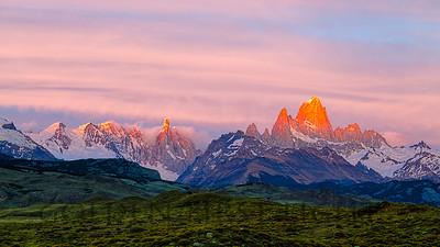 Cerro Torre and Fitz Roy, Los Glaciares, Argentina, Sunrise
