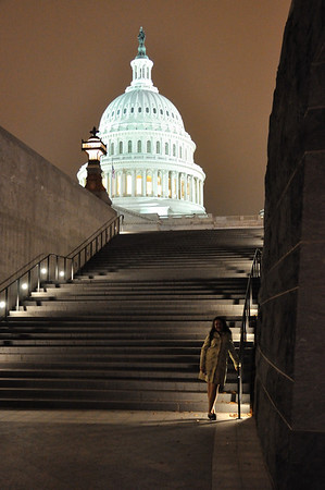Erin at the Capitol at Night - 10-29-2009