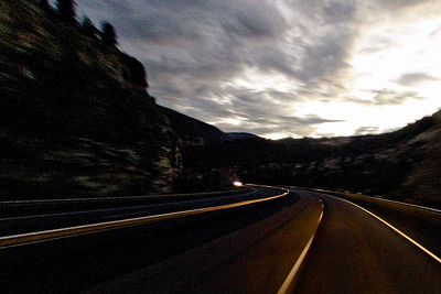 Road Darkness and Bright Sky