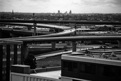 Milwaukee Cityscape on Black and White 35mm Film Photograph 108