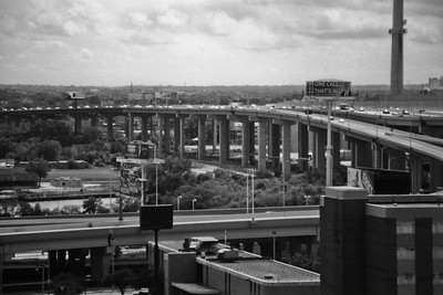 Milwaukee Cityscape on Black and White 35mm Film Photograph 106