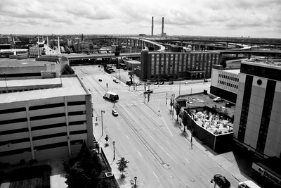 Milwaukee Cityscape on Black and White 35mm Film Photograph 103