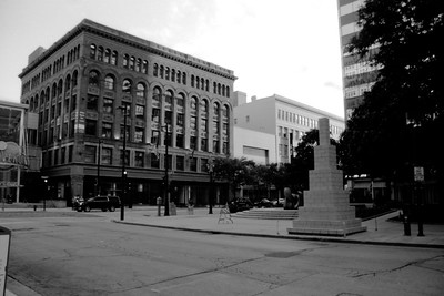 Milwaukee Cityscape on Black and White 35mm Film Photograph 89