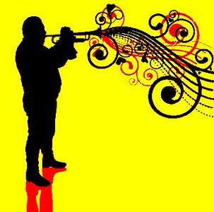 (B10) Trumpet Silhouette