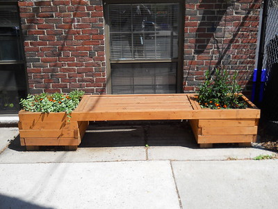 Double Planter Bench