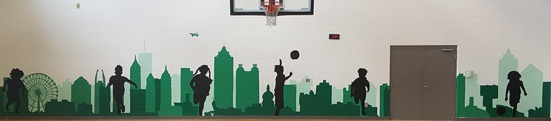 (F10) Green Scale Skyline with Silhouettes